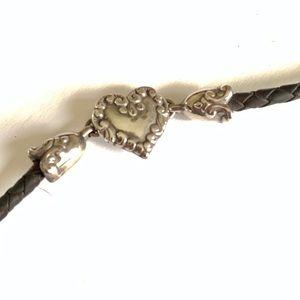 Brighton Leather Silver Bracelet Heart Designer